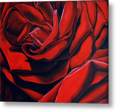 Metal Print featuring the painting February Rose by Thu Nguyen