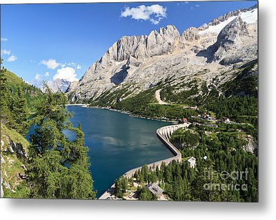 Metal Print featuring the photograph Fedaia Pass With Lake by Antonio Scarpi