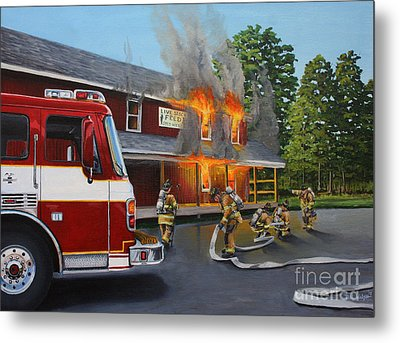 Feed Store Fire Metal Print by Paul Walsh