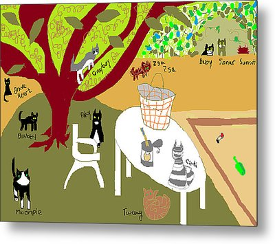 Metal Print featuring the painting Feeding The Cats At The Park by Anita Dale Livaditis