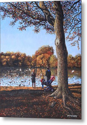 Feeding The Ducks At Southampton Common Metal Print by Martin Davey