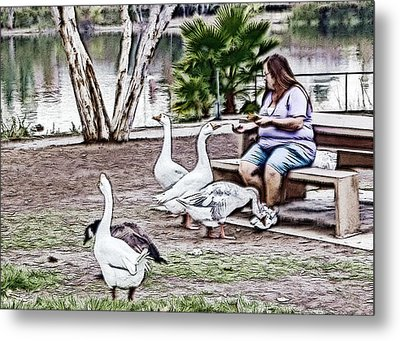 Metal Print featuring the digital art Feeding The Geese by Photographic Art by Russel Ray Photos