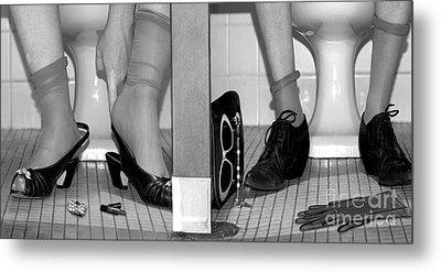 Feet In Toilet Stalls Metal Print by Novastock