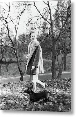 Felicia Montealegre Wearing A Dior Coat Metal Print