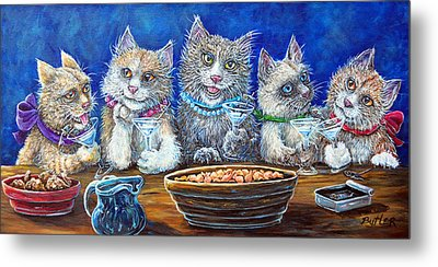 Felines After Five Metal Print by Gail Butler