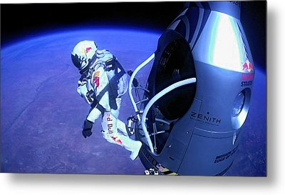 Felix Baumgartner Jumping From Capsule Metal Print by Science Photo Library