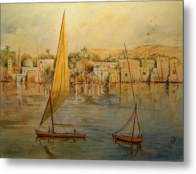 Feluccas At Aswan Egypt. Metal Print by Juan  Bosco