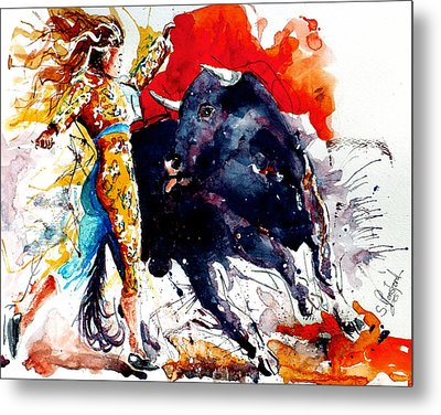 Female Bullfighter Metal Print by Steven Ponsford