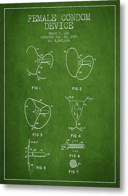 Female Condom Device Patent From 1989 - Green Metal Print by Aged Pixel