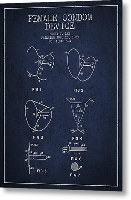 Female Condom Device Patent From 1989 - Navy Blue Metal Print by Aged Pixel