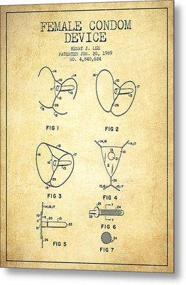 Female Condom Device Patent From 1989 - Vintage Metal Print by Aged Pixel