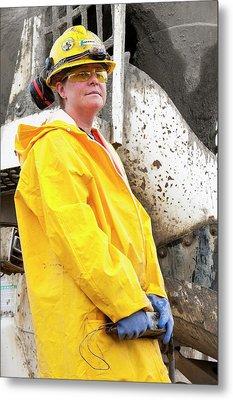 Female Construction Worker Metal Print