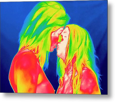 Female Couple Kissing Metal Print by Thierry Berrod, Mona Lisa Production