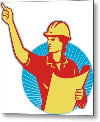 Female Engineer Construction Worker Pointing Retro Metal Print by Aloysius Patrimonio