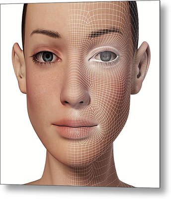 Female Head With Biometric Facial Map Metal Print