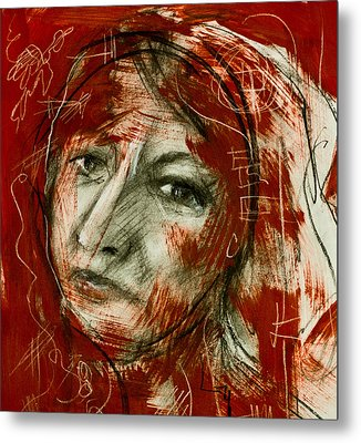 Female Head With Red Background Metal Print