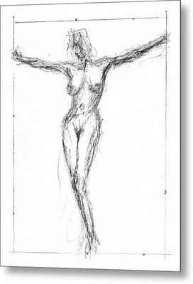 Female Nude In The Pose As Jesus Christ Crucifix  - Pencil Drawing Metal Print