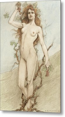 Female Nude With Grapes Metal Print