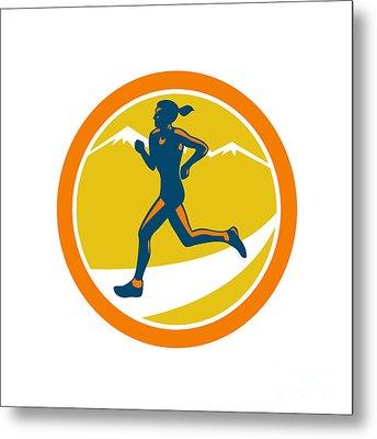 Female Triathlete Runner Running Retro Metal Print by Aloysius Patrimonio