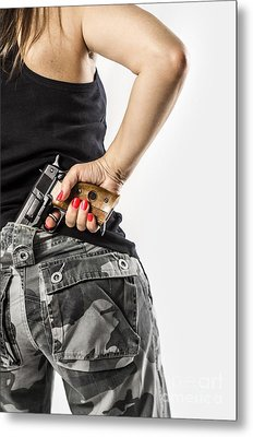 Feminin Agent Metal Print by Carlos Caetano