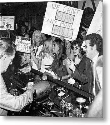 Feminists Protest  Brown's Bar Metal Print by Underwood Archives