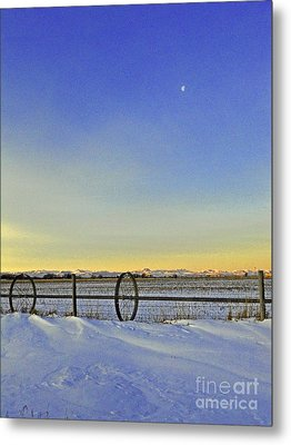 Fence And Moon Metal Print