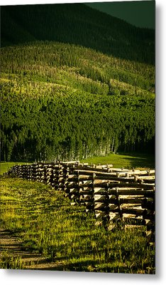 Metal Print featuring the photograph Fence And Shadow by Jay Stockhaus