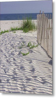Metal Print featuring the photograph Fence And Shadow by Jeanne Forsythe