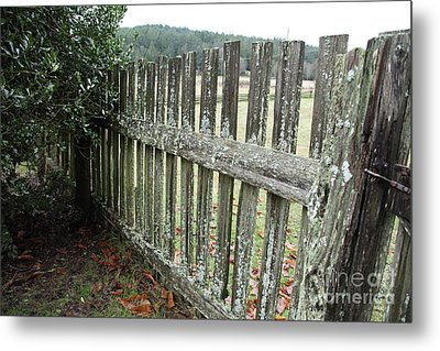 Fence At The Farm Metal Print by Graham Foulkes