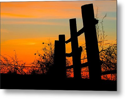 Fence Line With Vibrant Sky Metal Print by Kirk Strickland