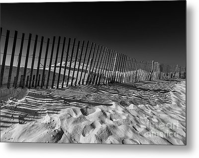 Fence On Beach Metal Print by Danny Hooks