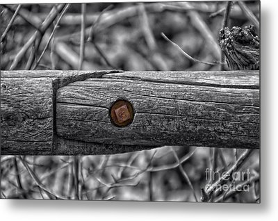 Fence Rail With Rusty Bolt Metal Print by Thomas Woolworth
