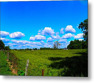 Fence Row And Clouds Metal Print by Nick Kirby