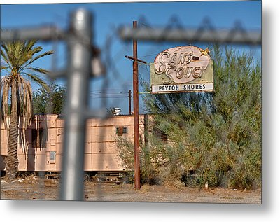 Fenced In  Abandoned 1950's Motel Trailer Metal Print by Scott Campbell