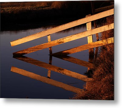 Fenced Reflection Metal Print by Bill Gallagher