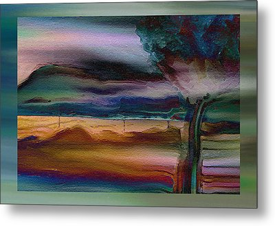 Fences In The Mist Metal Print by Lenore Senior