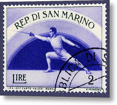 Fencing On San Marino Stamp Metal Print by Phil Cardamone