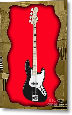 Fender Bass Guitar Collection Metal Print by Marvin Blaine
