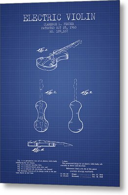 Fender Electric Violin Patent From 1960 - Blueprint Metal Print by Aged Pixel