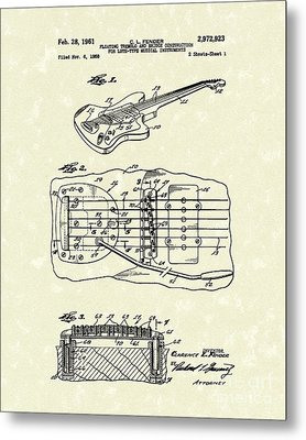 Fender Floating Tremolo 1961 Patent Art Metal Print by Prior Art Design
