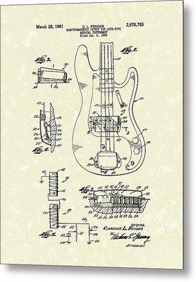 Fender Guitar 1961 Patent Art Metal Print by Prior Art Design