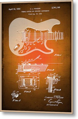 Fender Guitar Patent Blueprint Drawing Sepia Metal Print