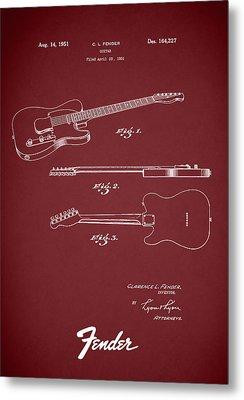 Fender Guitar Patent 1951 Metal Print by Mark Rogan
