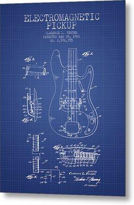 Fender Guitar Patent From 1961 - Blueprint Metal Print