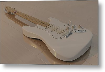 Fender Stratocaster In White Metal Print by James Barnes