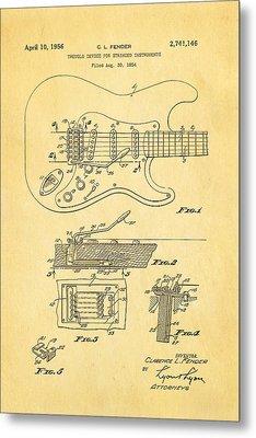 Fender Stratocaster Tremolo Arm Patent Art 1956 Metal Print