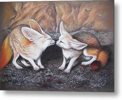 Metal Print featuring the drawing Fennec Love by Patricia Lintner