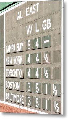 Fenway Park Al East Scoreboard Standings Metal Print by Susan Candelario