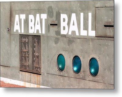 Fenway Park At Bat - Ball Scoreboard Metal Print
