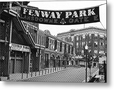 Fenway Park Banner Black And White Metal Print by Toby McGuire